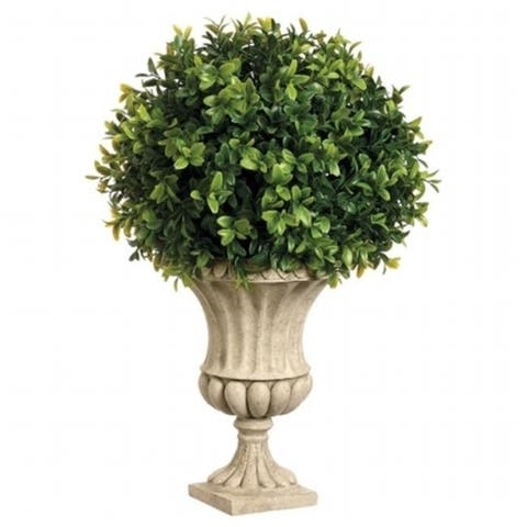 Allstate Floral WP7516-GR 16 in. Hx10 in. Wx10 in. L Boxwood Ball in Resin Urn Green - Pack of 2