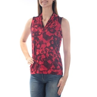 Womens Maroon Floral Sleeveless V Neck Casual Top Size 12