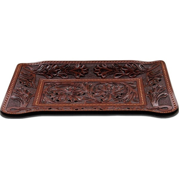 "3D Western Valet Tray Floral Embossed 8"" x 5 1/2"" Tan HD101"