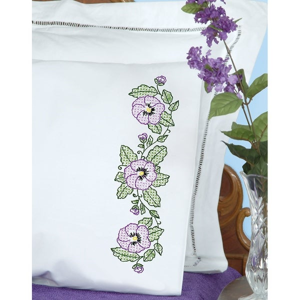 Stamped Pillowcases W/White Perle Edge 2/Pkg-Pansies - White