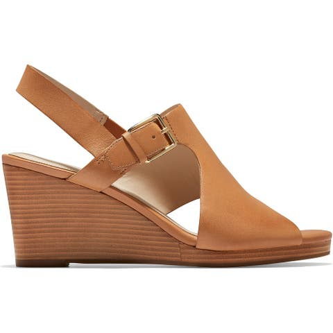 Cole Haan Womens Philomina Wedges Cut Out Open Toe - Pecan Leather - 6.5 Medium (B,M)