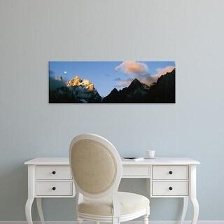 Easy Art Prints Panoramic Image 'Sunrise, Cathedral Group, Grand Teton National Park, Teton County, Wyoming' Canvas Art