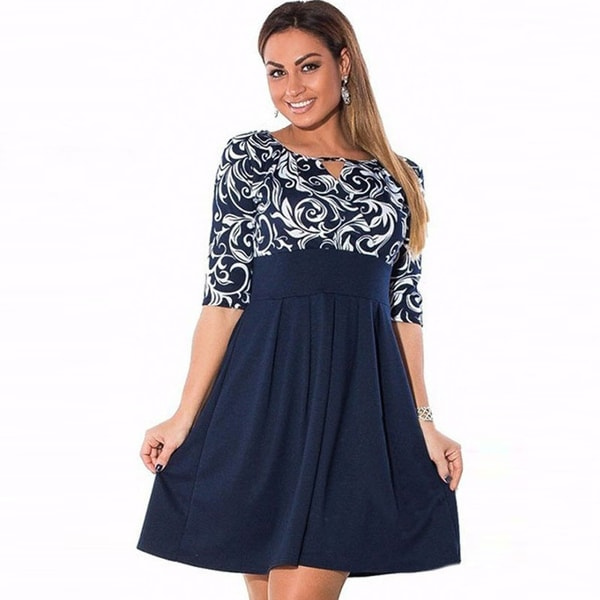 Shop Large Size 6XL Summer Dress Plus Size Midi Dress Casual Patchwork  Loose Dresses Plus Size 5XL Women Clothing Big Sizes 4XL - Free Shipping On  Orders ... 84af12b46