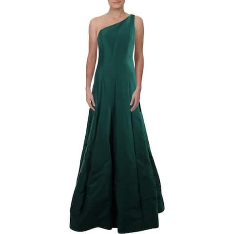 Halston Heritage Women's Pleated One Shoulder Full Length Formal Gown - Evergreen