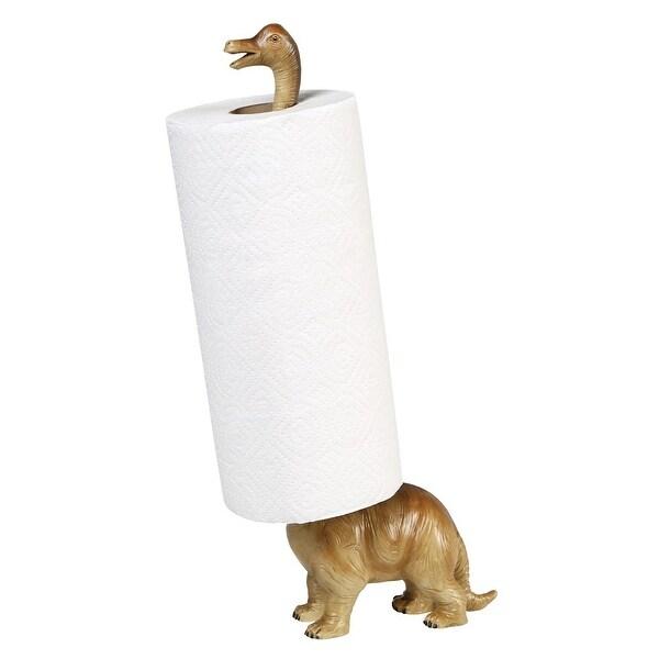 "Paper Towel Holder - Brontosaurus Dinosaur - Countertop Free Standing - 17"" High - Gray. Opens flyout."