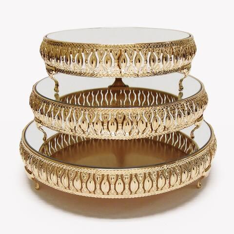 Gold Luxury Mirror Top Cake Stand Dessert Display