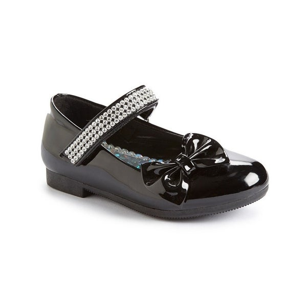 e3adda47e95f48 Shop Little Girls Black Rhinestone Strap Bow Patent Mary Jane Flats 5-10  Toddler - Free Shipping On Orders Over $45 - Overstock - 23080330