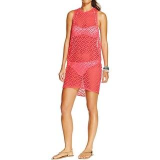 Miken Womens Crochet Racerback Dress Swim Cover-Up
