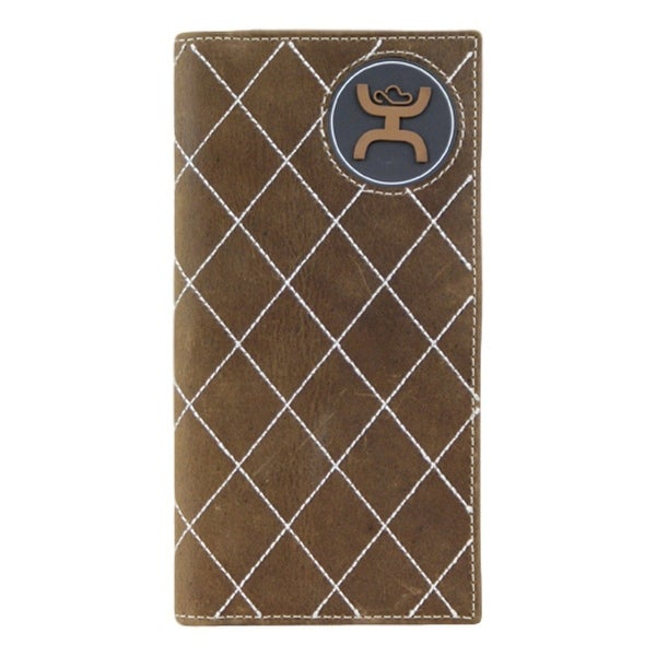HOOey Western Wallet Mens Rubber Logo Rodeo Wallet Brown - 3 1/2 x 3/4 x 7