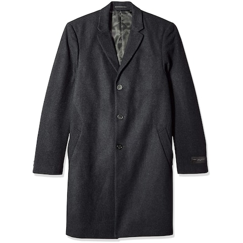 Ike Behar Mens Coat Black Size 52R Three Button Two Pocket Wool