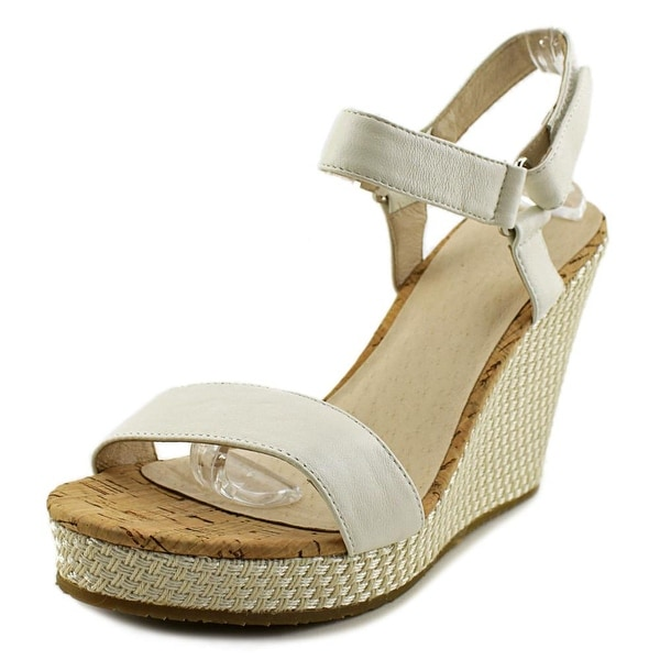 Pika Carini Women Open Toe Leather White Wedge Sandal