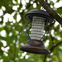 AGPtek LED Solar Bug Zapper Insect Killer Lamp Stainless Steel UV Outdoor Lantern Light