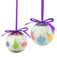 8-Piece Purple and White Decoupage Shatterproof Christmas Ball Ornament Set 2.25""