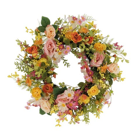 """24"""" Artificial Rose And Dogwood And Daisy Floral Spring Wreath"""