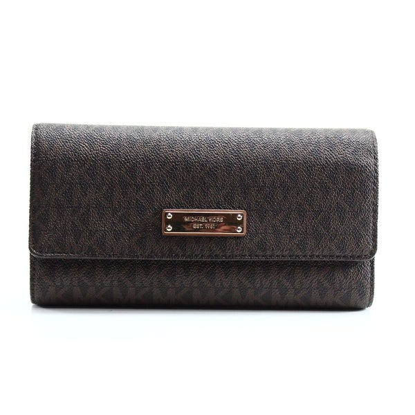 2ff740411b65 Shop Michael Kors NEW Brown PVC Signature Jet Set Item Checkbook ...