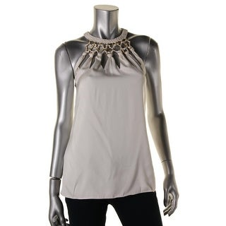 Kobi Halperin Womens Fluer Silk Embellished Neck Halter Top