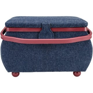 "Sewing Basket Rectangle-12.75""X7.625""X7.75"" Denim W/Red Trim"
