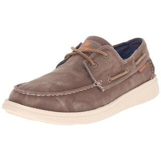 Skechers USA Men's Status Melec Boat Shoe, Light Brown