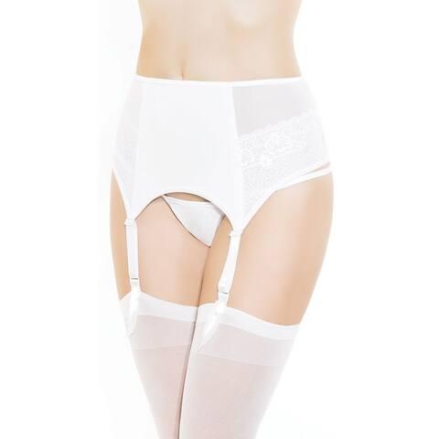 High Waisted White Garter Belt