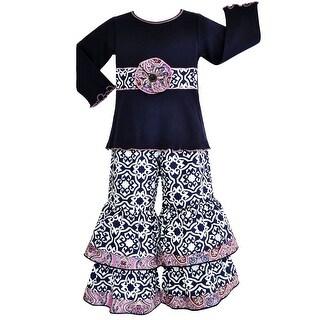 Annloren Girls Boutique Navy Blue Damask Long Sleeve Pants Outfit 7-10