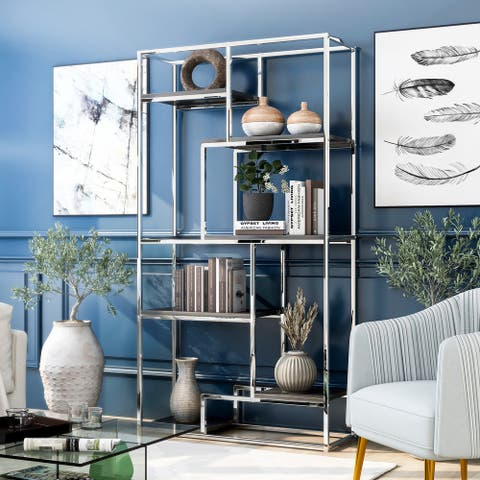 Silver Orchid Viby Contemporary 6-shelf Tiered Open Bookcase