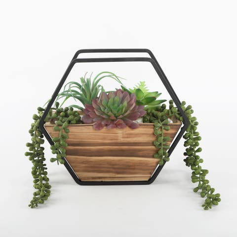 """Artificial Plant Succulent in 11"""" Hexagon Wood and Metal Wall Planter - ONE-SIZE"""
