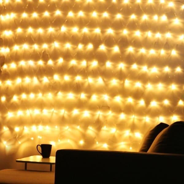 9.84ft × 6.56ft Christmas LED Net Lights, 204 LEDs Drops, Extendable, 8 Modes