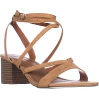 madden girl Leexi Block Heel Ankle Strap Dress Sandals, Camel