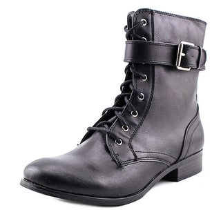 Style & Co Ricky Women Round Toe Leather Black Ankle Boot