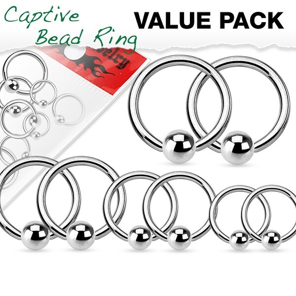 Shop Value Pack 4 Pairs Annealed Surgical Steel Captive Bead Rings