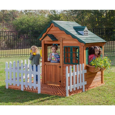 Mayfield Cottage Wooden Playhouse w/ Wood Floor