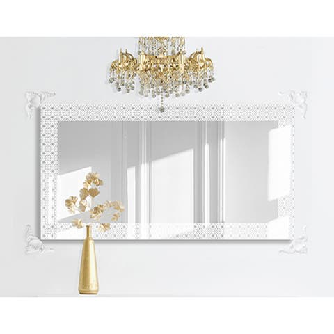 Geo Contemporary Etched Decorative Floating Frameless Designer Vanity Wall Mirror