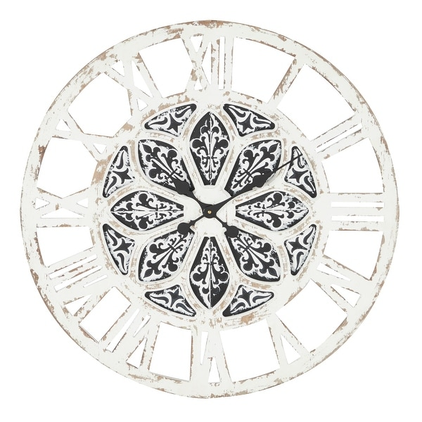 """Large Round Distressed White Wood Wall Clock With Black Patterned Center Detail, 28"""" X 28"""" - 28 x 1 x 28Round. Opens flyout."""