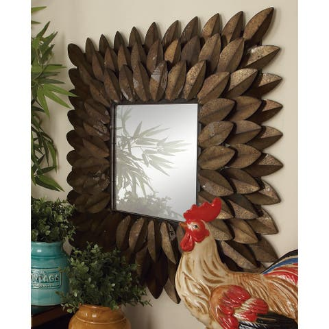 Gracewood Hollow Elijah Metal Wall Mirror - 30' x 30' - Antique Brown