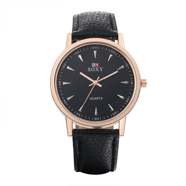 Faux Black Leather Rose Gold Face Watch- Black