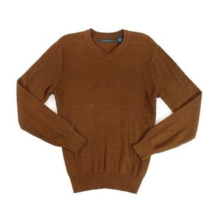 Perry Ellis NEW Bright Chestnut Brown Mens Size Large L V-Neck Sweater