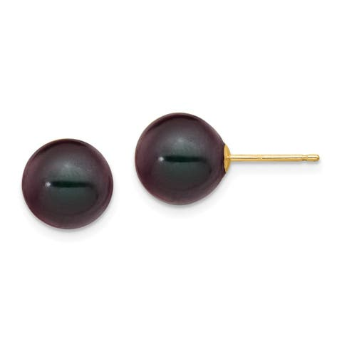 14 Karat Yellow Gold 9-10mm Black Round Freshwater Cultured Pearl Stud Earrings by Versil