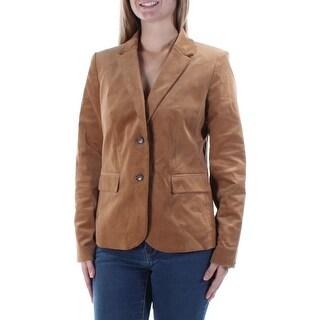 Womens Brown Wear To Work Blazer Jacket Size 2