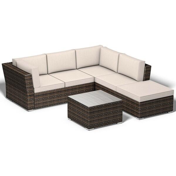 Rattan 5 Seater Sofa Set: Shop Costway 4PCS Wicker Cushioned Patio Rattan Furniture