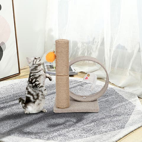 13 Inch Cat Climb Holder Tower Cat Tree Linen Circular Ring with Toys