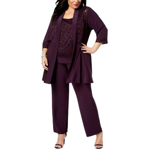 R&M Richards Womens Plus Pant Suit Embellished Lace