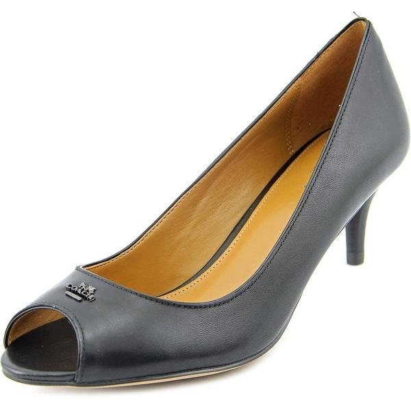 Coach Delilah Women Peep-Toe Leather Black Heels