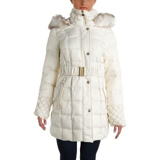 Betsey Johnson Womens Quilted Faux Fur Parka - S