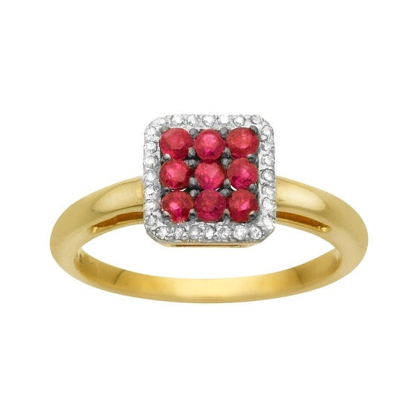 1/2 ct Ruby Ring with Diamonds in 14K Gold - Red