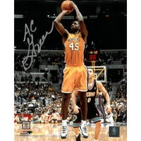 AC Green signed Los Angeles Lakers 8x10 Photo yellow jerseyleft side sig