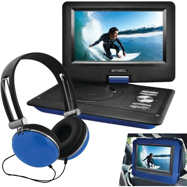 """Ematic Epd116Bu 10"""" Portable Dvd Player With Headphones & Car-Headrest Mount (Blue)"""