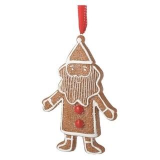 "5.5"" Gingerbread Kisses Sugared Cookie Santa Christmas Ornament"