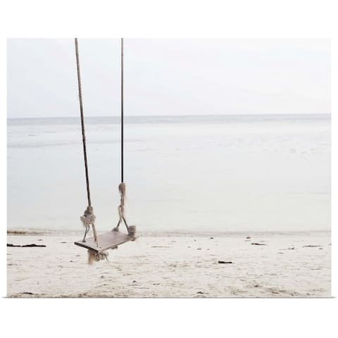 """""""Swing made out of ropes and wood over a sandy beach directly on the ocean."""" Poster Print"""