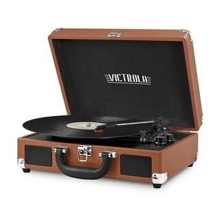 Innovative Technology Bluetooth Suitcase Turntable in Cognac