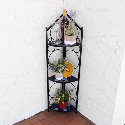 Sunnydaze 3-Tier Blue Mosaic Tiled Outdoor Corner Display Shelf - 44-Inch - Black